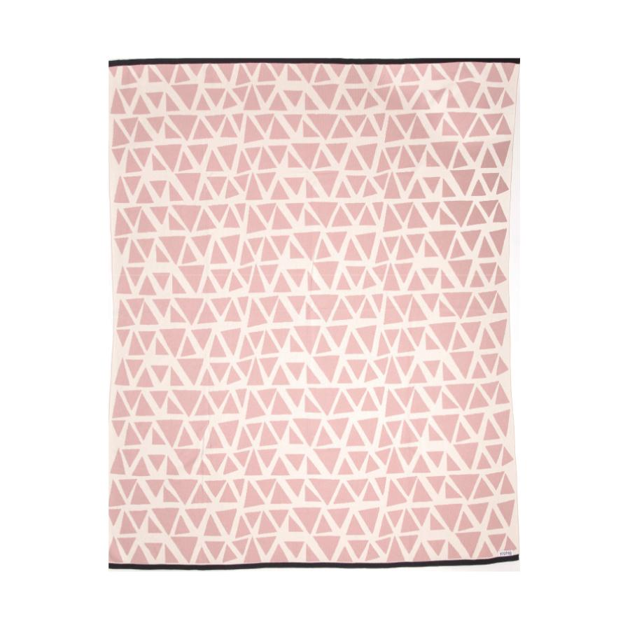 Dusty pink and off-white Lennox Cotton Throw 160x130cm