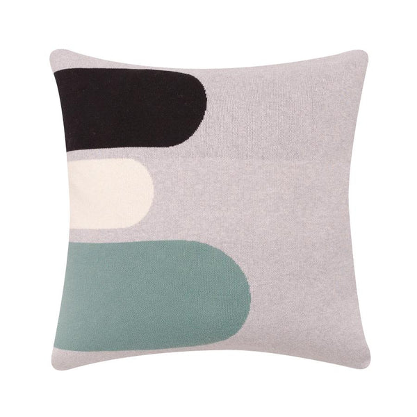 Cotton cushion in grey, white, mint green and black 50x50cm