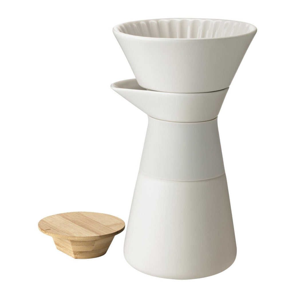 Stelton off white ceramic, silicone and wood slow coffee brewer