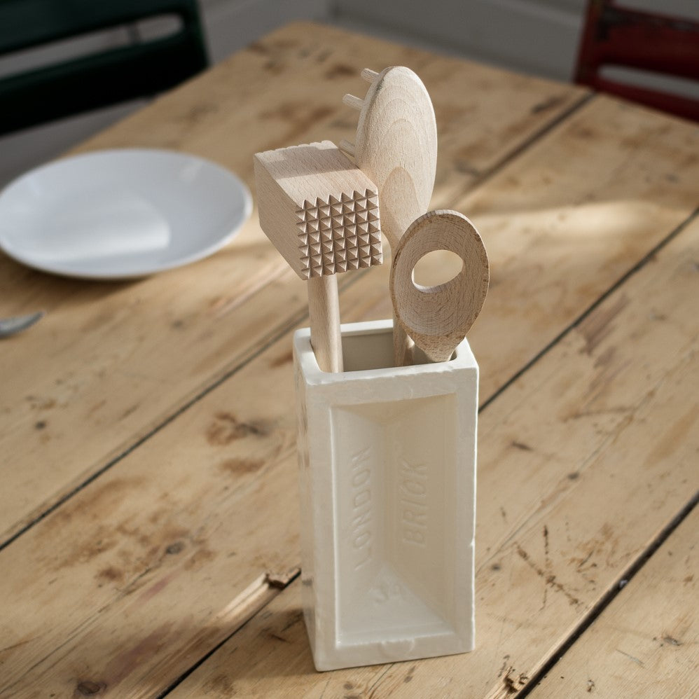 Ceramic white brick vase used as a utensil holder