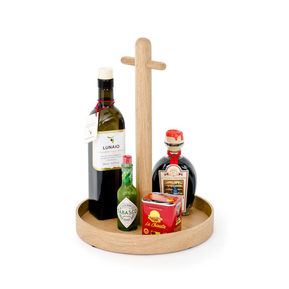 Oak wood condiment tray