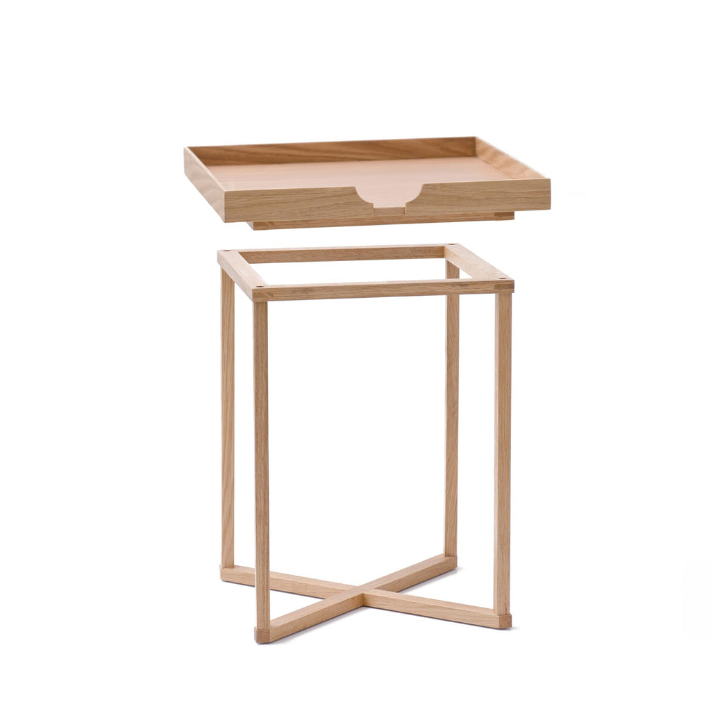 Oak wood square tray side table