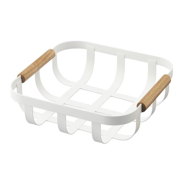 White square metal basket with wood handles