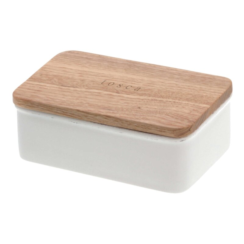 White ceramic butter dish with ash wood lid
