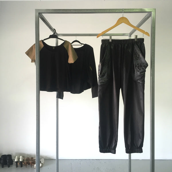 Black with Black Lame Party Pockets