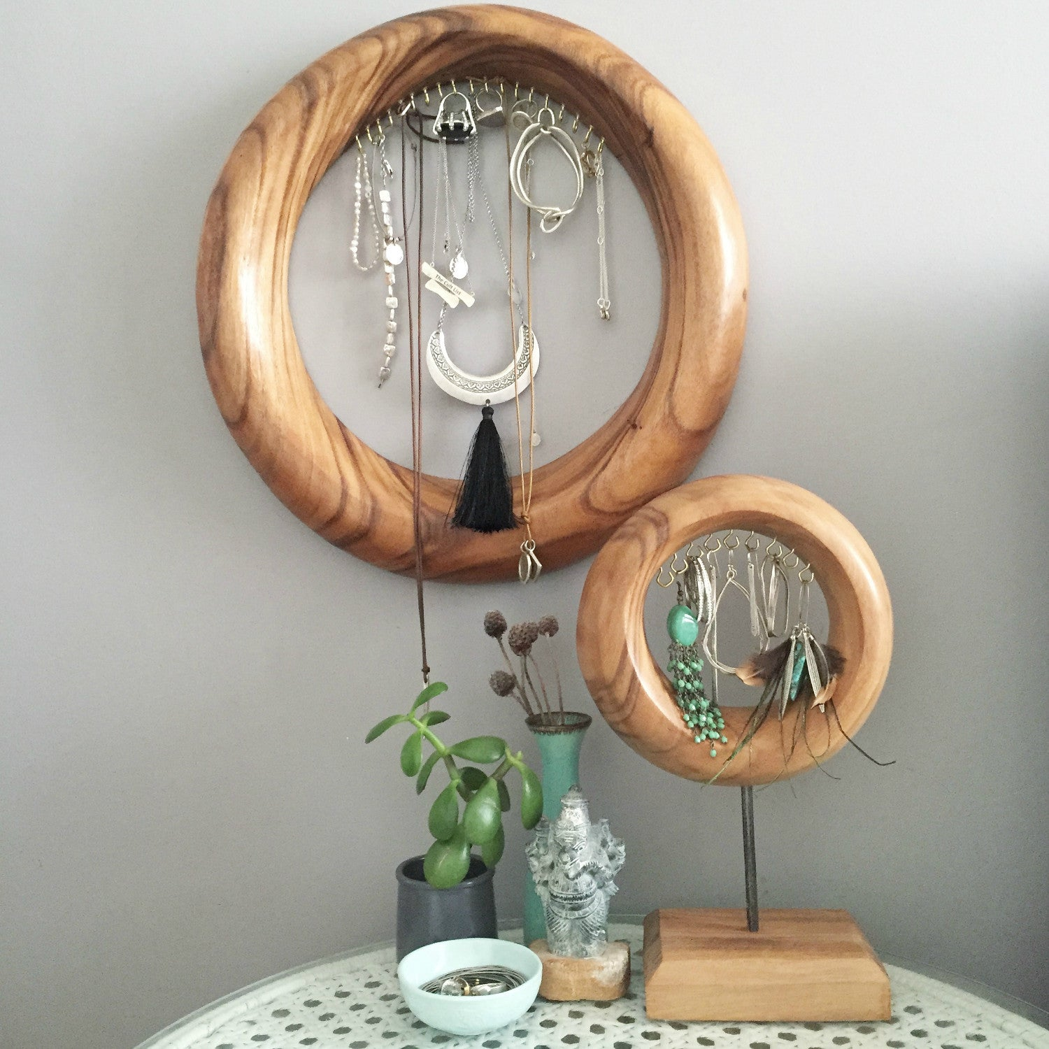 Large Teak Touches Jewellery Holder