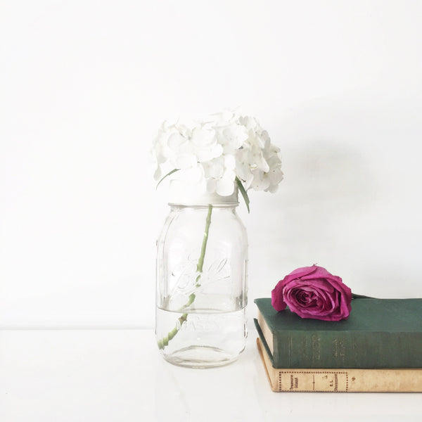 Large White Mason Jar Flower Vase