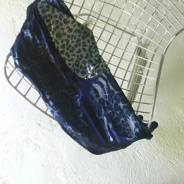 Indigo Leopard Party Pockets
