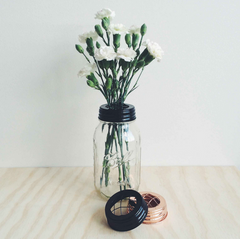 Large Black Mason Jar Flower Vase