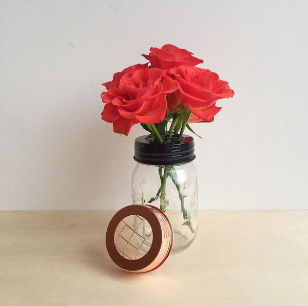 Small Black Mason Jar Flower Vase