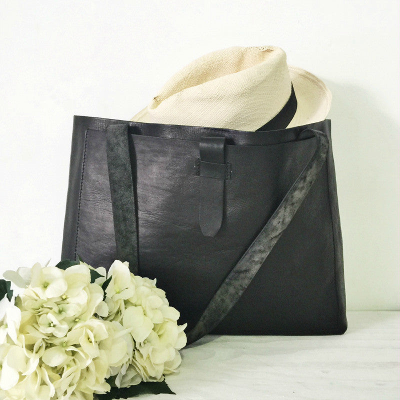 Black Luxe Leather Tote Handbag
