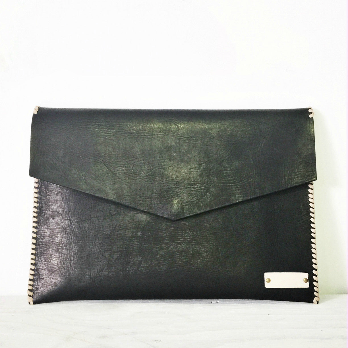 Black Luxe Leather Laptop Sleeve