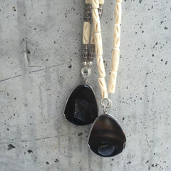 Rough Rocks Bone Beaded Agate Necklace