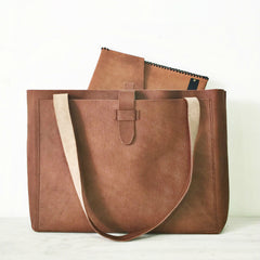 Tan Luxe Leather Tote Handbag