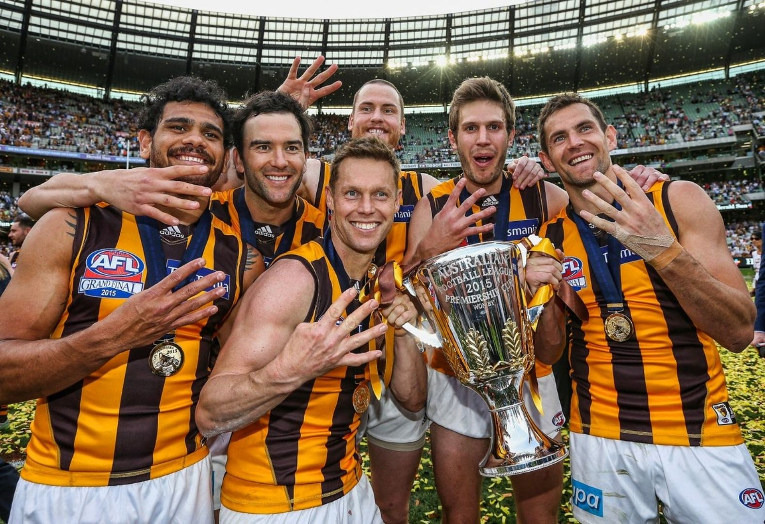 Hawthorn Football Club posing with the Grand Final cup
