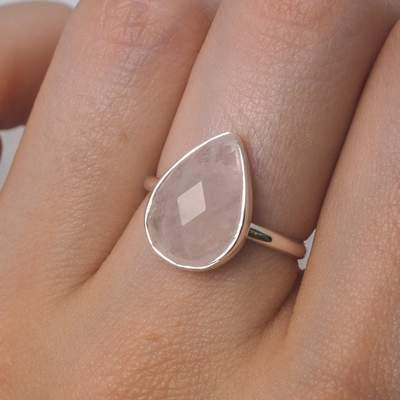 Midsummer Star | Freesia faceted Rose Quartz Ring-Midsummer Star-Homing Instincts