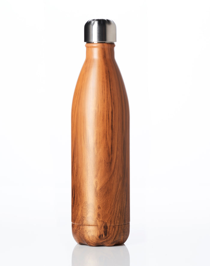 BOX of 20 (Wood - non branded) STAINLESS STEEL INSULATED BOTTLE 25 oz