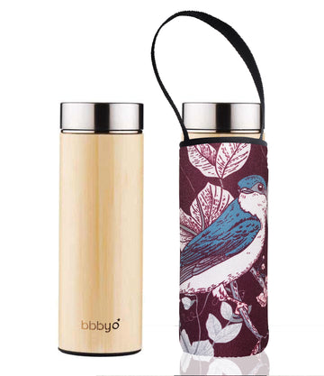 BBBYO BAMBOO & STAINLESS STEEL INSULATED BOTTLE with TEA INFUSER + CARRY COVER  BELLBIRD PRINT  17oz/500ml