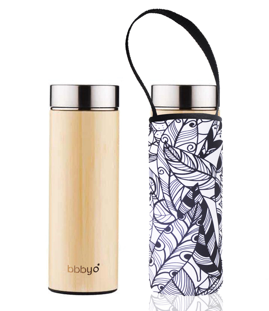BBBYO BAMBOO & STAINLESS STEEL INSULATED BOTTLE with TEA INFUSER + CARRY COVER  FEATHER PRINT  17oz/500ml