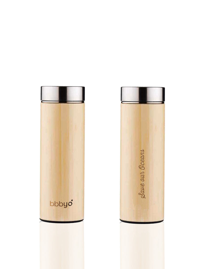 BBBYO BAMBOO & STAINLESS STEEL INSULATED BOTTLE with TEA INFUSER + CARRY COVER  BANANA LEAF PRINT  17oz/500ml