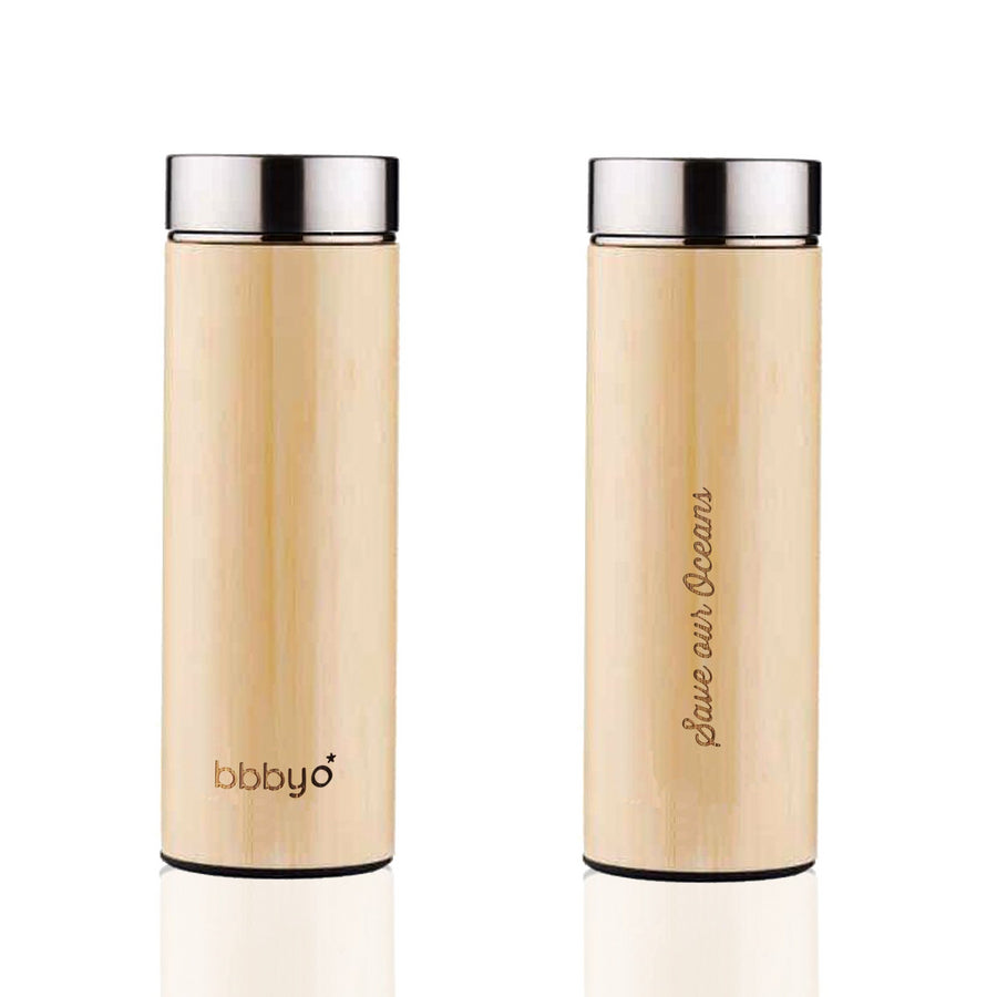 BBBYO BAMBOO & STAINLESS STEEL INSULATED BOTTLE with TEA INFUSER -  17oz/500ml