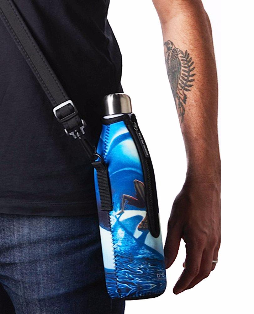 "TRVLR by BBBYO Cooler Carry Cover ""BLUE BIRD OF PARADISE"" - 17 oz"