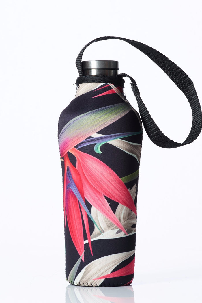 "TRVLR by BBBYO, Cooler Carry Cover for Corkcicle® ""PINK BIRD OF PARADISE"" - 17 oz"