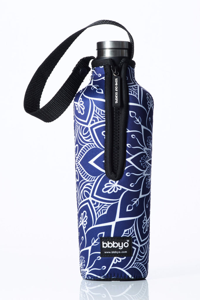 "TRVLR by BBBYO, Cooler Carry Cover for Corkcicle® ""BLUE LOTUS"" - 25 oz"