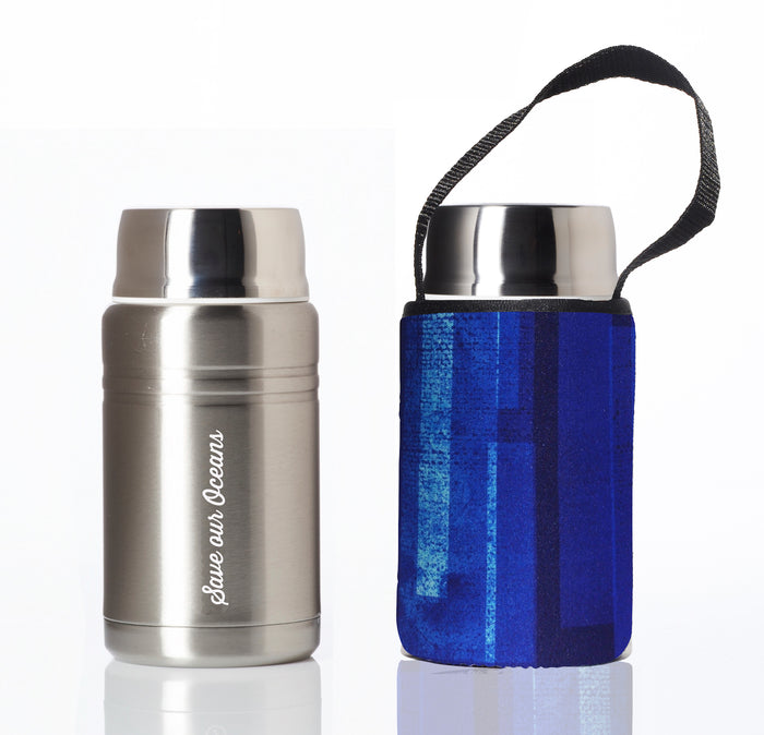 BBBYO FOODIE INSULATED LUNCH CONTAINER + CARRY COVER- STAINLESS STEEL - 750 ML - BLUE BLAZE PRINT