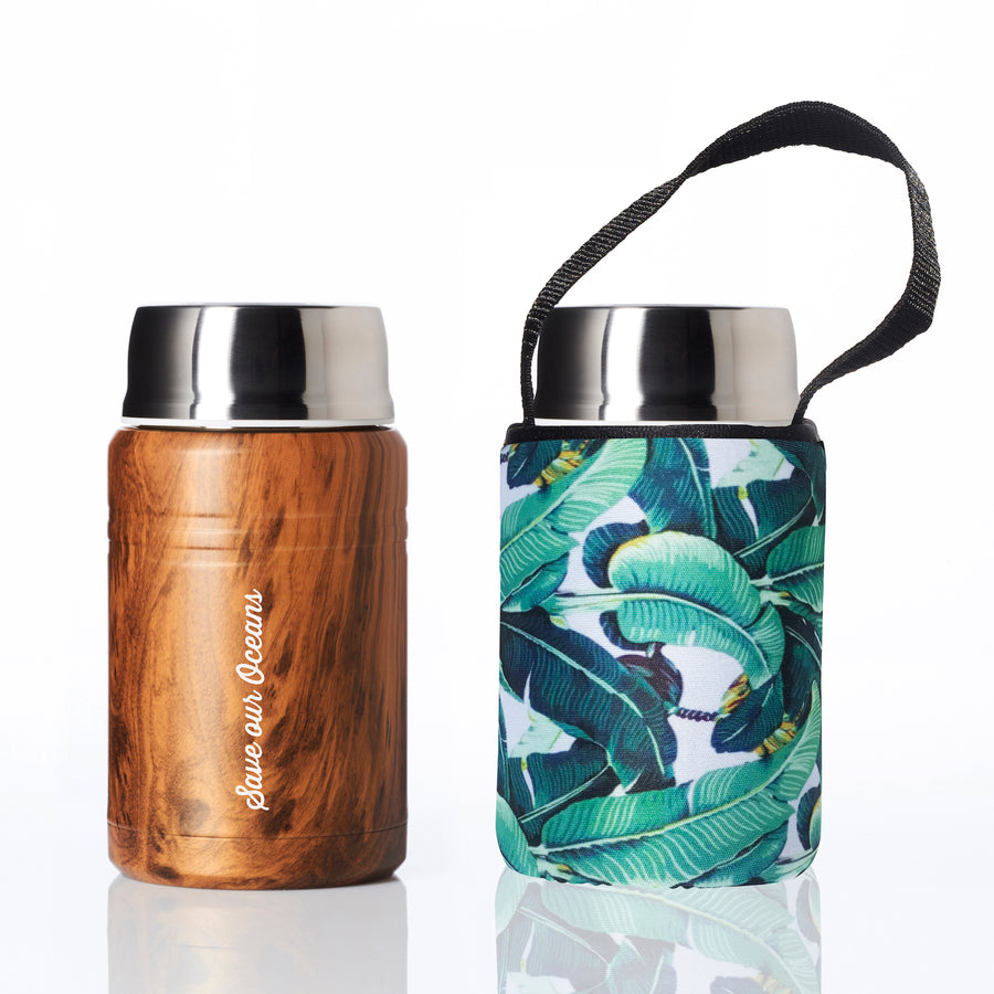 BBBYO FOODIE INSULATED LUNCH CONTAINER + CARRY COVER- STAINLESS STEEL - 500 ML - BANANA LEAF PRINT