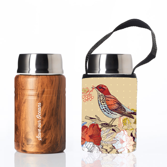 BBBYO FOODIE INSULATED LUNCH CONTAINER + CARRY COVER- STAINLESS STEEL - 500 ML - BIRD PRINT