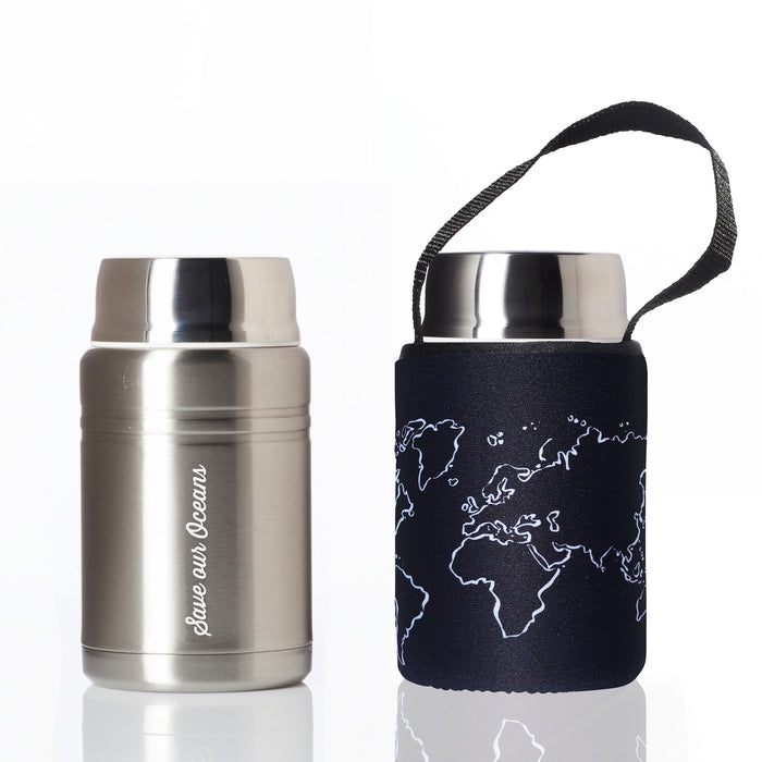 BBBYO FOODIE INSULATED LUNCH CONTAINER + CARRY COVER- STAINLESS STEEL - 500 ML - GLOBE PRINT