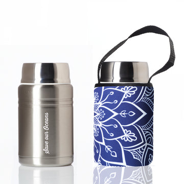 BBBYO FOODIE INSULATED LUNCH CONTAINER + CARRY COVER- STAINLESS STEEL - 500 ML - MANDALA PRINT