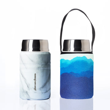 BBBYO FOODIE INSULATED LUNCH CONTAINER + CARRY COVER- STAINLESS STEEL - 500 ML - MOUNTAINS PRINT