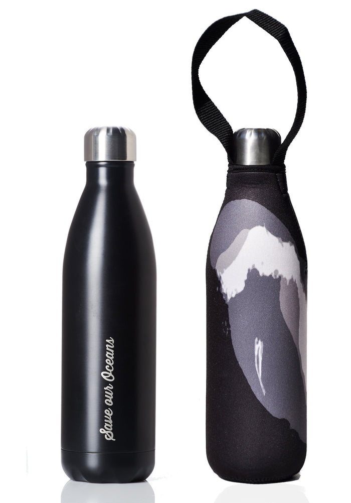 BBBYO FB + CARRY COVER COMBO ('BLACK ON BLACK WAVE') STAINLESS STEEL INSULATED BOTTLE 25 oz