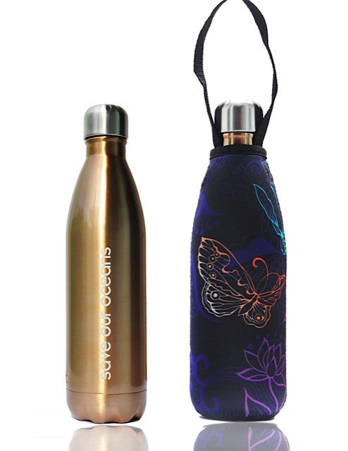 BBBYO FB + CARRY COVER  ('BUTTERFLY') STAINLESS STEEL INSULATED BOTTLE 17 oz