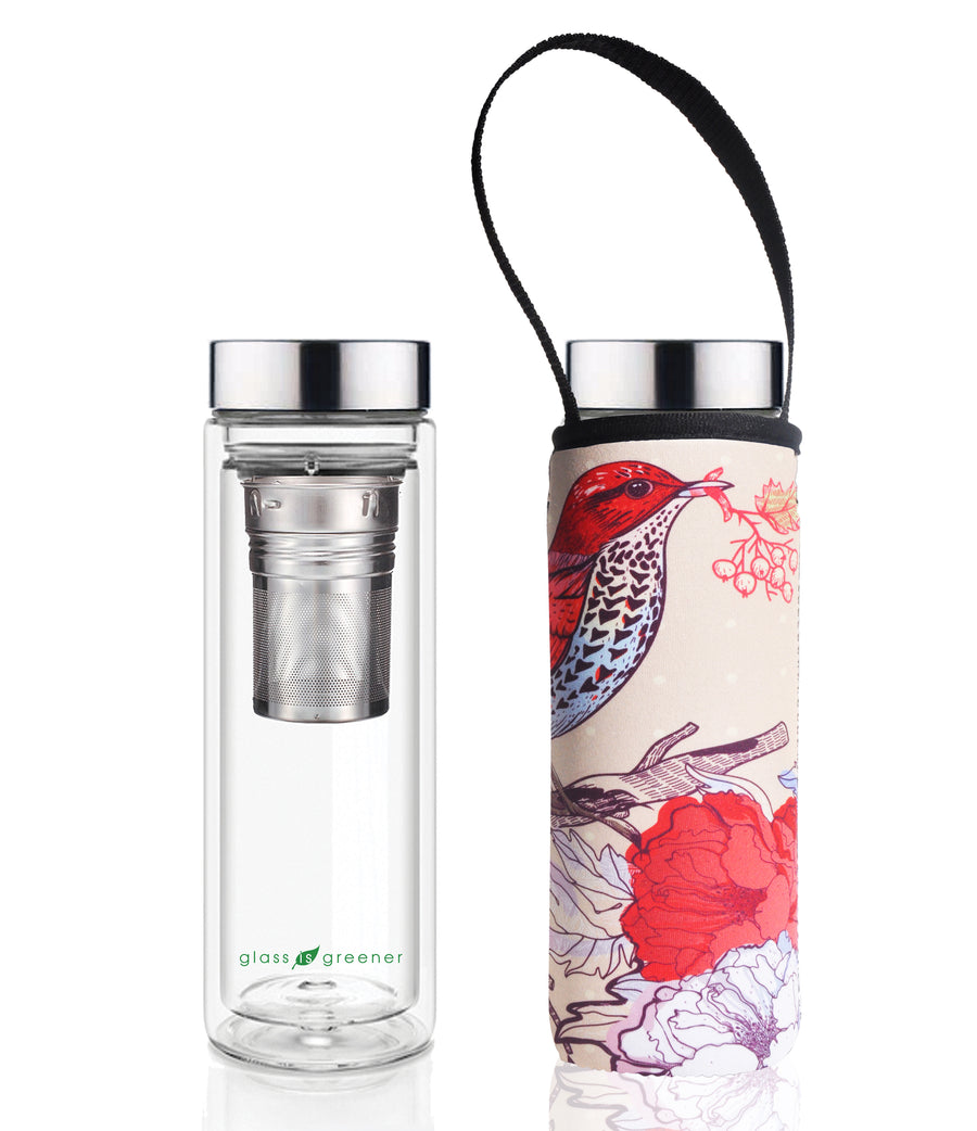 GLASS IS GREENER DOUBLE WALL THERMAL TEA FLASK + CARRY COVER - 500 ML - BIRD PRINT