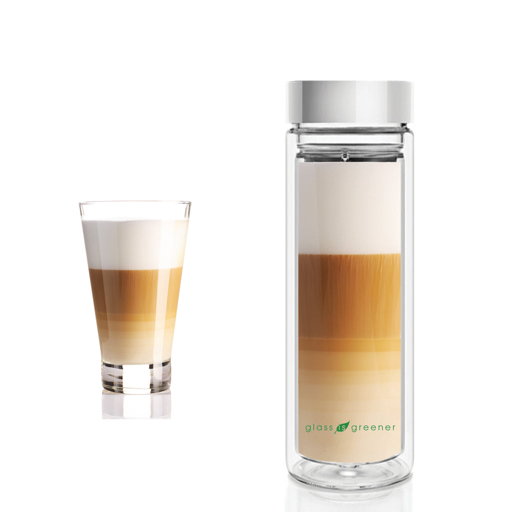 GLASS IS GREENER DOUBLE WALL THERMAL TEA FLASK + CARRY COVER - 500 ML - SPIRAL PRINT