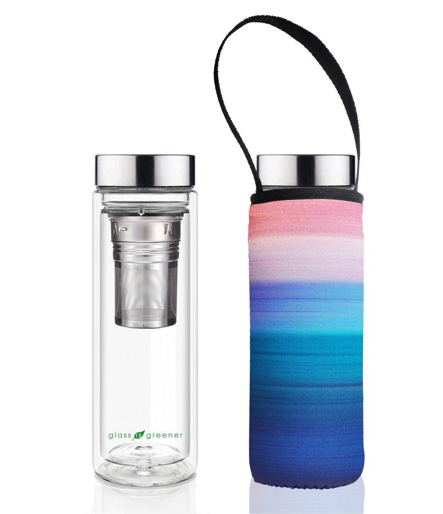 GLASS IS GREENER DOUBLE WALL THERMAL TEA FLASK + CARRY COVER - 500 ML - PEACE PRINT