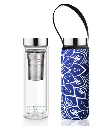 GLASS IS GREENER DOUBLE WALL THERMAL TEA FLASK + CARRY COVER - 500 ML - TOKYO PRINT