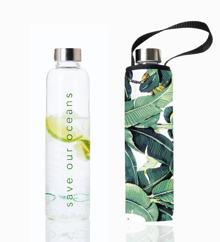 "GLASS IS GREENER 25 oz BOTTLE + CARRY COVER ""Banana Leaf"""