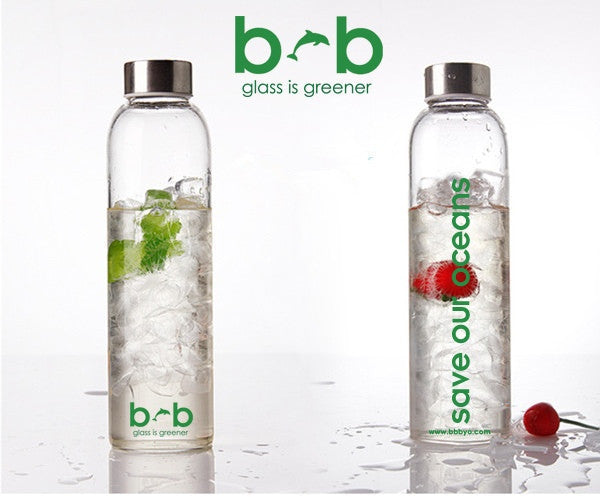 "GLASS IS GREENER BOTTLE + CARRY COVER ""BLOOM"" 19 oz"