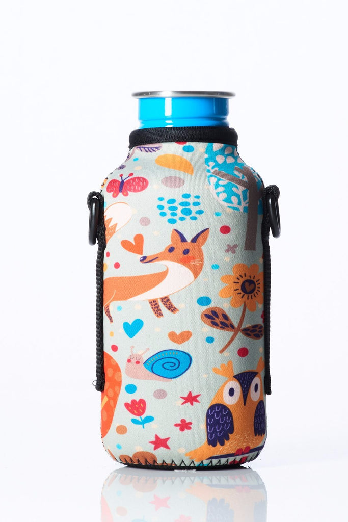 "TRVLR by BBBYO - for KLEAN KANTEEN® ""Classic"" - Cooler Carry Cover ""FOREST FRIENDS"" - 18 oz"