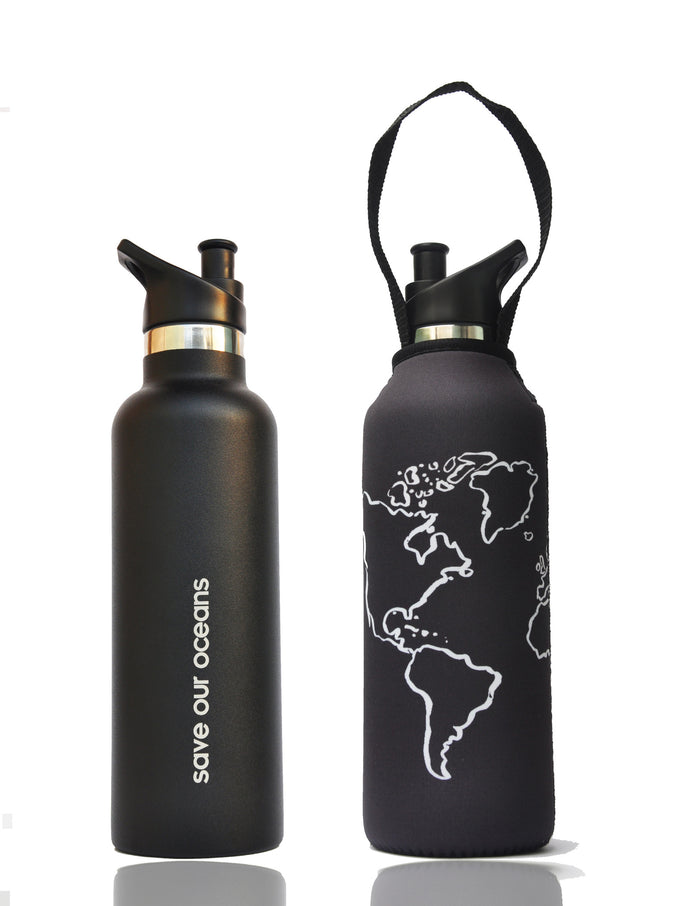 "BBBYO ""Traveler"" Insulated Stainless Water Bottle with Carabiner + Carry Cover 25oz(Globe)"