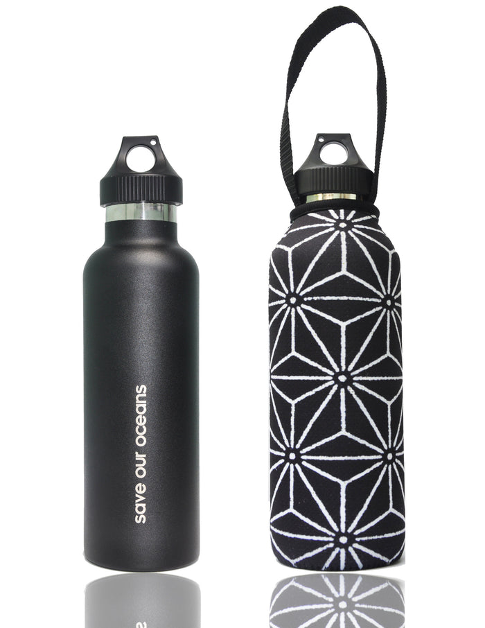 "BBBYO ""Traveler"" Insulated Stainless Steel Bottle with Carabiner + Carry Cover 25oz(Star)"