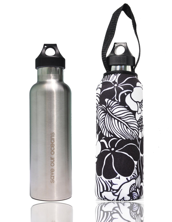 "BBBYO ""Traveler"" Stainless Steel Water Bottle with Carabiner + Carry Cover 25oz (Tropic)"