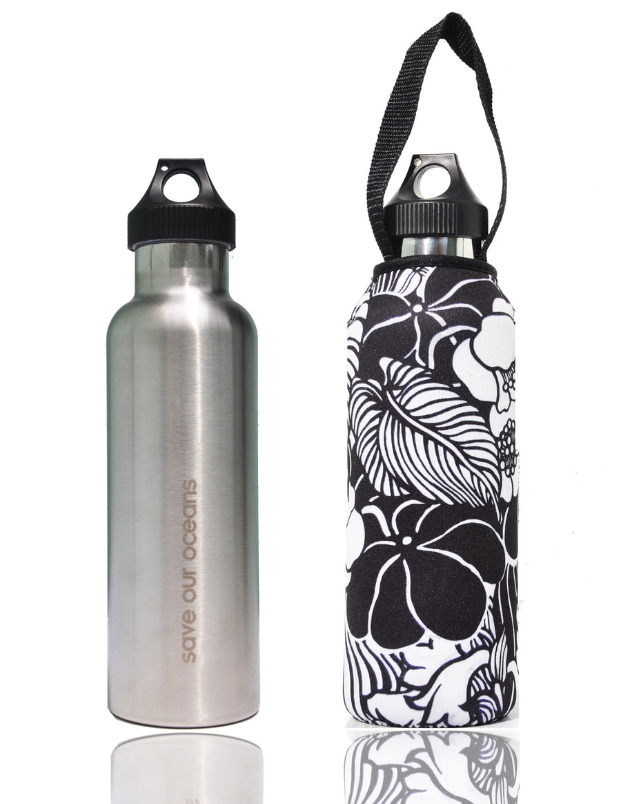 BOX OF 20 - Traveller Stainless Steel Water Bottle with Carabiner + Carry Cover 25oz (Tropic)