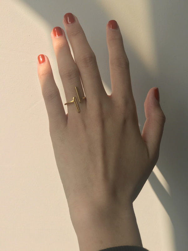 Dainty Gold Parallel Bar Stacking Ring | ISAACSONG.DESIGN