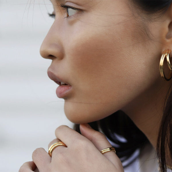 Dainty Gold Wide Band  Layered Stacking Rings | ISAACSONG.DESIGN