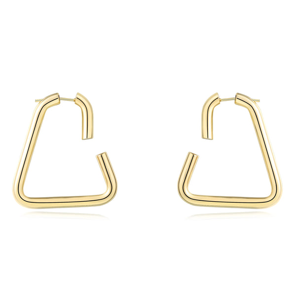 Chunky Statement Oval Minimalist Hoop Everyday Earrings(Triangle Hoop Earrings) | ISAACSONG.DESIGN